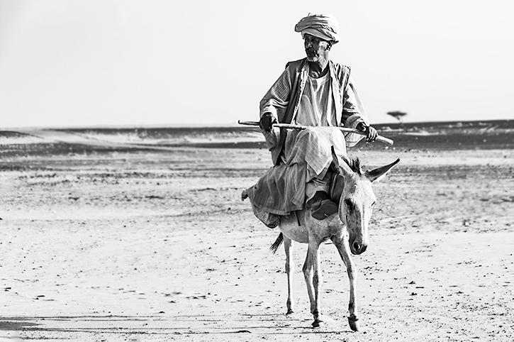 Sudan-Eselsreiter-in-der-Wueste